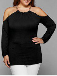 Plus Size Chain Neck Cold Shoulder Blouse -