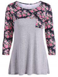 Casual Patch Pocket Floral T-Shirt -