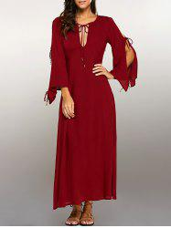 Split Sleeve High Waist Maxi Dress -