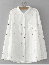 Water Drop Embroidered Pocket Design Shirt -