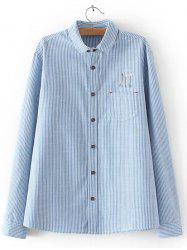 Embroidered Striped Buttoned Shirt - LIGHT BLUE 3XL