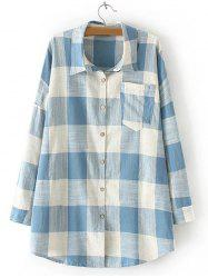 Plaid Pocket Design Loose Juniors Shirt - LIGHT BLUE