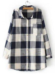 Plaid Pocket Design Loose Juniors Shirt