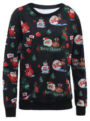 Santa Claus 3D Print Christmas Sweatshirt - BLACK