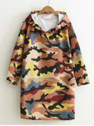Camouflage Print Hooded Sweatshirt Dress