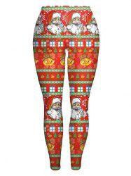 Slim Santa Claus Printed Christmas Leggings - JACINTH