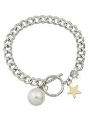 Toggle Star Faux Pearl Charm Bracelet -