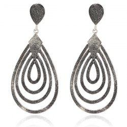 Carved Filigree Teardrop Earrings - SILVER