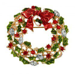 Enamel Bowknot Wreath Christmas Brooch