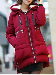 Hooded Puffer Coat - WINE RED