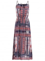 Braided Strap Printed Maxi Dress -