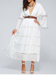 Plunging Neck Flare Sleeve Belted Cut Out Empire Waist Maxi Dress -