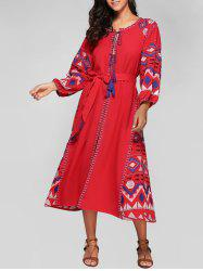 Scoop Neck Embroidered Lantern Sleeve Dress -