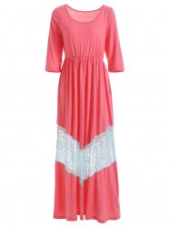 Scoop Neck Lace Trimmed Maxi Dress -