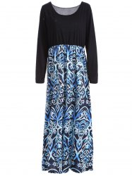Scoop Neck Long Sleeve Maxi Day Dress