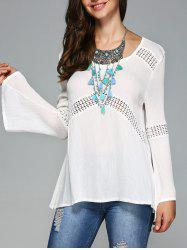 See-Through Bell Sleeve Openwork Blouse -