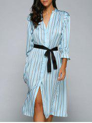 Striped Front Slit Midi Dress With Pockets -