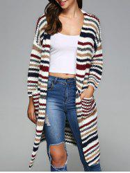 Colorful Striped Double Pockets Cardigan -