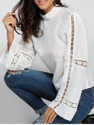 Flare Sleeve Crochet Trim High Neck Blouse -