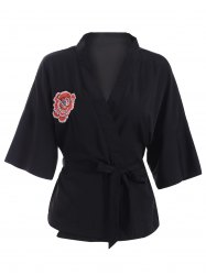 Casual V-Neck Embroidered Belted Kimono Blouse - BLACK 2XL
