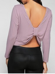 Long Sleeves Open Back T-Shirt -
