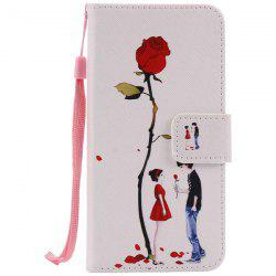 Wallet Design Rose Lovers Pattern Phone Case For iPhone 7 Plus -