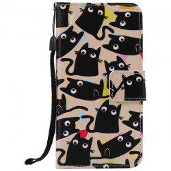 Cartoon Cat PU Wallet Design Phone Case For iPhone 7 Plus -