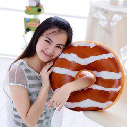 Plush Cushion Chocolate Candy Doughnut Shape Pillow - BROWN