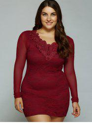 Plus Size Mesh-Insert Bodycon Dress