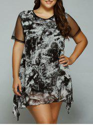 Plus Size Butterfly Print Asymmetrical Dress