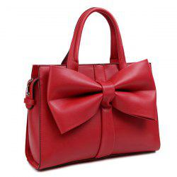 PU Leather Bow Zipper Tote Bag - RED