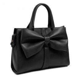 PU Leather Bow Zipper Tote Bag - BLACK