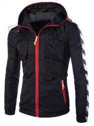 Pockets Design Hooded Stripe Zip-Up Polyester Jacket -