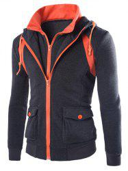 Faux Twinset Hooded Pockets Design Double Zip-Up Jacket -