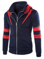 Faux Twinset Hooded Varsity Stripe Double Zip-Up Jacket