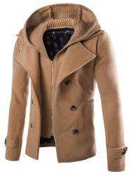 Detachable Knitting Hooded Double-Breasted Zip-Up Woolen Coat - CAMEL