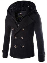 Manteau détachables Knitting capuche double boutonnage Zip-Up Woolen - Noir
