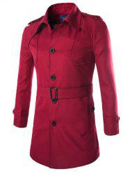 Turn-Down Collar Epaulet Design Lengthen Single-Breasted Coat - WINE RED