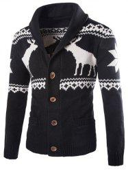 Shawl Collar Ethnic Elk Print Button Up Cardigan