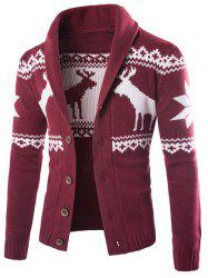 Turn-Down Collar Ethnic Style Elk Print Single-Breasted Cardigan - WINE RED