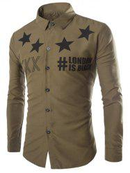 Stars and Letter Print Long Sleeve Shirt - ARMY GREEN 2XL