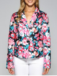 One Button Flower Print Blazer -