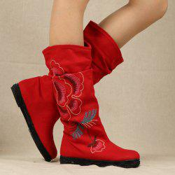 Canvas Embroidered Mid-Calf Boots -
