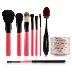 8 Pcs Makeup Brushes Set and BB Cream Air Cushion Puffs -