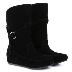 Suede Braid Fringe Mid-Calf Boots -