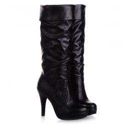 Ruched Cone Heel PU Leather Mid-Calf Boots - BLACK 42
