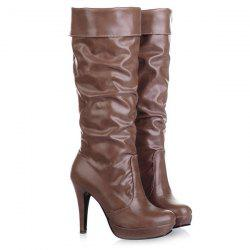Ruched Cone Heel PU Leather Mid-Calf Boots - BROWN