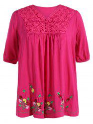 Plus Size V Neck Flower Mexican Embroidered Blouse