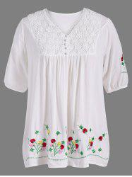 Plus Size V Neck Flower Embroidered Blouse