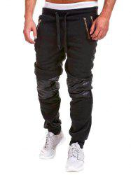 Zippered Insert Drawstring Jogger Pants - BLACK